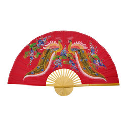 "Oriental Furniture - Wisdom of the Peacocks Fan - 60"" - This Chang Mai style, handcrafted wall fan is built with sateen fabric over split bamboo slats and hand-painted with classic Thai acrylic art. Offered in both 40 inches (3.3 ft.) and 60 inches (5 ft.) wide, the Wisdom of the Peacocks features mirrored, brightly colored  peacocks surrounded by blue blossoms on a lucky red background. Hang it on your wall to bring a splash of the Far East to your home or office, or give it as a unique housewarming or holiday gift."