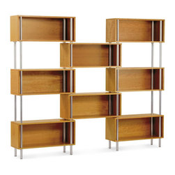 """Blu Dot - """"Blu Dot Chicago 8 Box, Cherry"""" - """"Sometimes, good design is about what's not there. The Chicago series takes advantage of negative space, creating smart, elegant storage. Eight floating boxes with powder-coated tubular steel legs. Available in cherry, graphite-on-oak, and maple."""""""