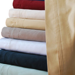 Bed In A Bag - HC 800 Thread Count Egyptian Cotton Solid Sheet Set - Woven from 100% Egyptian cotton, these indulgently soft, 800 Thread Count sheets are exquisitely designed and expertly tailored to provide the ultimate nights sleep.   Solid Colors Available: Burgundy, Black, Gold, Ivory, Medium Blue, Sage, Taupe, White.