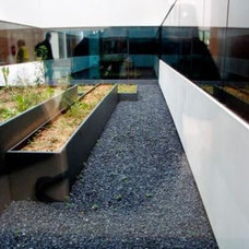 Modern Landscape Black stone in new hospital La Fe de Valencia, Spain