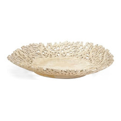 "IMAX - Vargas Cutwork Charger - With intricate detailing resembling graceful climbing vines, the Vargas Cutwork charger has an organic elegance and a stunning textural appeal sure to enhance any decor. For a coordinated look purchase matching pieces.  Item Dimensions: (2.75""h x 16.75""d)"