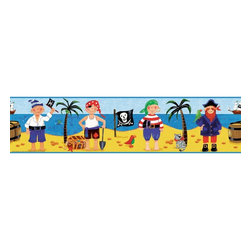 RoomMates - Treasure Hunt Peel & Stick Border Multicolor - RMK1177BCS - Shop for Wallborders from Hayneedle.com! Yo ho ho! It appears as though pirate booty has been strewn about this deserted beach. Well plant the Jolly Roger and get to collecting the doubloons and pieces o' silver that lie about. This here adhesive sticker border transforms any scallywag's room into the domicile of a true buccaneer in no time flat. And the sticker can be removed and reapplied as easily as disarming a British vessel. Together with the separately sold Treasure Hunt stickers you'll have a jolly fine bedroom for the aspiring pirate.These stickers will work on just about any surface but take care with wallpaper or some delicate surfaces. If in doubt test in an inconspicuous place prior to applying all the stickers. Also wait 10 to 15 days after painting before using stickers. Though the paint feels dry it needs adequate time to cure. As with any adhesive product these will work much better on clean surfaces free of dust and the like. Specifically they will work well on surfaces including but not limited to walls mirrors your fridge laptop covers tile glass lockers furniture and automotive surfaces.Please note this product does not ship to Pennsylvania.