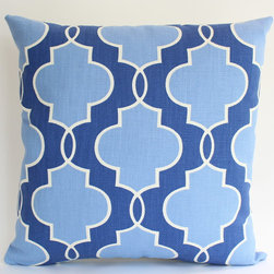 Designer Pillow Cover with Geometric Blue Pattern - This indoor/outdoor blue and white pillow is great! The two different color blues and soothing and eye-catching.
