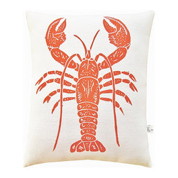 """artgoodies - Lobster Squillow Pillow - A cute accent pillow for your couch, chair, or bed!  An original hand carved block print has been hand printed on 100% cotton, sewn together with coordinating vintage fabric, and filled with poly-fil. Measures 10.5"""" tall x 8.5"""" wide."""