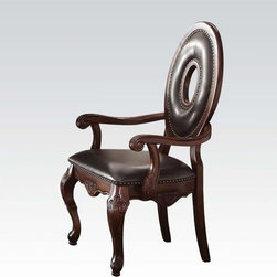 Abbeville Arm Chair - Decorate your room with this interesting, beautiful, stylish and comfortable arm chair. It is part of Abbeville collection. This collection is made in the transitional style. It featured elaborate carving and careful details brings beauty to your room. All furniture has cherry finish. Elegant carving, knobs and hardware will make this furniture more interesting and beautiful. Arm chairs is finished in PU leather and tapestry. Back of this arm chair is made in ring shape.