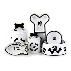 Black and White Ceramic Pet Collection - No need to hide those food dishes with this adorable ceramic pet collection. The dishes and matching treat jars are a cute way to hide your pets' treats!