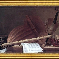 "Pierre Nicolas Huilliot-14""x28"" Framed Canvas - 14"" x 28"" Pierre Nicolas Huilliot Still-Life of Musical Instruments framed premium canvas print reproduced to meet museum quality standards. Our museum quality canvas prints are produced using high-precision print technology for a more accurate reproduction printed on high quality canvas with fade-resistant, archival inks. Our progressive business model allows us to offer works of art to you at the best wholesale pricing, significantly less than art gallery prices, affordable to all. This artwork is hand stretched onto wooden stretcher bars, then mounted into our 3"" wide gold finish frame with black panel by one of our expert framers. Our framed canvas print comes with hardware, ready to hang on your wall.  We present a comprehensive collection of exceptional canvas art reproductions by Pierre Nicolas Huilliot."