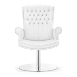 White Line Imports - Napoleon Visitor Office Chair in White Leatherette - Features: