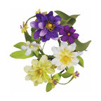 """Oddity - Oddity 1"""" Zinnia and Daisy Candle Ring Pack 6 - Purple and lime zinnias paired with white daisy's create a timelessly beautiful floral creation. The subtle hues make this collection perfect for spring decorating!"""