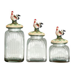 "Benzara - Polystone Glass Rooster Canister S3 15"", 13"", 11"" - Jars are 15, 13 and 11 inch in height."
