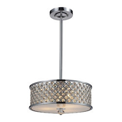 "Elk Lighting - Genevieve Modern Semi-Flush Mount Crystal Ceiling Light Fixture - The Genevieve Semi-Flush Ceiling Light Fixture Offers A Brilliant Display Of Shimmering Crystal With Upscale Aesthetics. High Quality Polished Crystal Is Laced Into A Lattice-Patterned, Polished Chrome Metal Band And Creates A Stunning Interplay Of Light And Texture. The Design Is Further Enriched By A Frosted Glass Diffuser And Crystal Finial. This Fixture Accommodates Three (3) 100 Watt Bulbs With A Medium Base. It Weighs Eight (8) Pounds And Includes: (1) 6"" and (2) 12"" Exrension Rods With Hang-Straight."