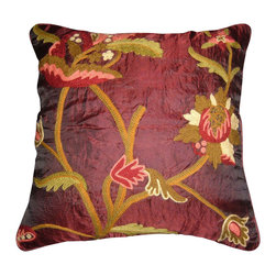 Crewel Fabric World - Crewel Pillow Allium Vermillion Silk Organza 16x16 Inches - Artisans in a remote mountain village in Kashmir crewel stitch these blossoms, vines and leaves by hand, resulting in a lush pattern of richly shaded wool yarns on Linen, Cotton, Velvet, Silk Organza, Jute. Also backed in natural linen, Cotton, Velvet Silk Organza, Jute with a hidden zipper.
