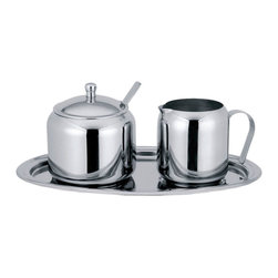 Cuisinox - 5 Pc Cream and Sugar Set - This delightful cream and sugar set includes a small serving oval tray with indentations to secure the creamer and sugar bowl on the tray. Made of quality stainless steel, the set includes a covered sugar bowl with spoon, a creamer, and an oval tray. Makes a great hostess gift.