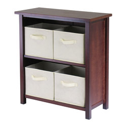 Winsome - Verona 2-Section M Storage Shelf with 4 Baskets - Walnut/Beige - This storage shelf comes with 4 foldable beige fabric baskets. Warm Walnut finish storage shelf is perfect for any room in your home. Use it alone as bookcase/shelf or with baskets for a complete storage function. Assembly required for shelf.