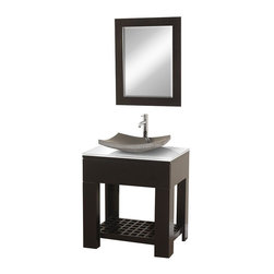 Wyndham Collection - 30 in. Modern Bathroom Vanity Set - Includes black granite sink, white glass top and matching mirror. Faucet not included. Floor-standing vanity. Perfect for a small bathroom or powder room application. Sturdy high-quality construction. Single-hole faucet mount. One drawer deep doweled drawer. Side-mount drawer slides. Towel and sundries storage shelf. Pure white stunning glass counter. No external hardware. Eight stage painting and finishing process. Mirror glass thickness: 1 in.. Warranty: Two years limited. Made from beautiful natural wood veneers over highest quality grade E1 MDF. Espresso finish. Mirror: 24 in. W x 28 in. H. Vanity: 30 in. W x 24 in. D x 36 in. H (125 lbs.). Installation InstructionsThe Zen II Modern Bathroom vanity is as solid as it is stylish.
