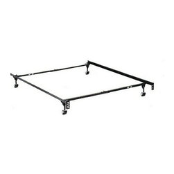 "HBF3050BL - Twin / Full Size Deluxe Lev-R-Lock Bed Frame With Rug Rollers - Twin / Full size deluxe lev-r-lock bed frame with rug rollers with headboard attachment . This frame features 2"" wide rug rollers heavy duty 1 1/4"" x 1 1/4"" steel construction, steel rail side rails for solid support,  Solid rivet construction.  Some assembly required. Available in Twin / Full,  Twin / Full / queen, queen /Cal. King / Eastern King."