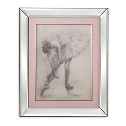 Bassett Mirror - Bassett Mirror Framed Under Glass Art, Antique Ballerina Study II - Antique Ballerina Study II