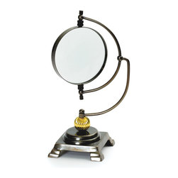 Go Home - Go Home Authors' Magnifying Glass - Make an addition of Authors' Magnifying Glass to your home or office area. This magnifying glass from French country chic collection is quite functional desk accessory which is simply stylish. It feature a glass having a convex lens which is swirling on its axis bestows a good magnification. It is designed with a firm base. The complete design of frame is made with the brass and it is furnished with the brass accents in black finish. This eye-catching urban accented magnifying glass is made so well by the designers of vintage chic home. It can add a unique dash of charm and class to your table or desktop.