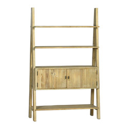 Dovetail Furniture - Carew Bookshelf - Built from reclaimed pine in smokey grey finish.