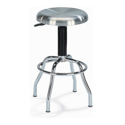 New Spec - Stainless Steel Workstool w Swivel - Color/Finish: Stainless Steel. Material: Aluminium/Stainless Steel. Adjustable Height. Brushed type 304 stainless steel. Seat swivels 360 degrees. Chrome metal leg. Weight capacity: 200 lbs.. Seat Height: 25.5 in. - 29.75 in.. 13.78 in. L x in. W x 25.50-29.50 in. H (16 lbs)