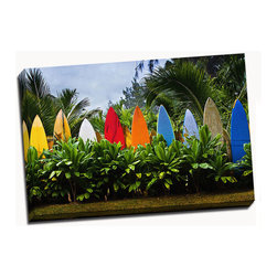 Picture it on canvas - Beach Series, Surfboards - Vibrant photography captures the warmth and beauty of beaches across the globe while a stretched canvas gives the art a gallery presentation.