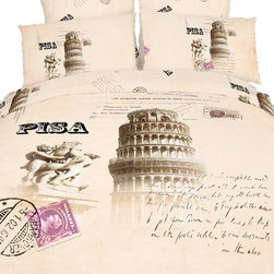Dolce Mela - Pisa Italy - Fun Novelty Quilt/Duvet Cover Bedding Sheet Set by Dolce Mela, King - We combined our best quality soft combed cotton fabric and the romantic memorabilia print of Pisa in Italy to create your ultimate comfort and sophistication in your bedroom setting.