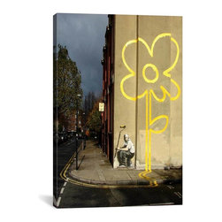 "Banksy - Banksy Canvas Print // Yellow Lines Flower Painter // 40"" H x 26"" W - Museum-quality canvas print by Banksy gallery wrapped and ready for wall hanging with no additional framing required. The canvas print is remarkably bright in color and unrivaled in detail with quality ink that has been light-tested to last over 100 years!"