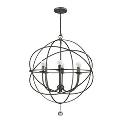 """Crystorama - Contemporary Crystorama Solaris English Bronze 28"""" Wide Pendant Light - With this wrought iron pendant light, it's hard not to make a statement. The simple design makes it easy to integrate into any decor."""