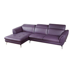 Beverly Hills Furniture Inc. - Orchard Sectional Sofa | Purple Leather, With Left Chaise - Modern classic design creates a timeless appeal, and provides great comfort as well, featuring durable inner frame for longevity, metal legs, soft cushioning, and premium top grainleather upholstery in purple finish.