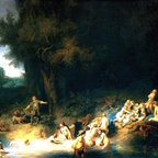"""Rembrandt Diana Bathing, with the Stories of Actaeon Print - 18"""" x 24"""" Rembrandt Van Rijn Diana Bathing, with the Stories of Actaeon and Callisto premium archival print reproduced to meet museum quality standards. Our museum quality archival prints are produced using high-precision print technology for a more accurate reproduction printed on high quality, heavyweight matte presentation paper with fade-resistant, archival inks. Our progressive business model allows us to offer works of art to you at the best wholesale pricing, significantly less than art gallery prices, affordable to all. This line of artwork is produced with extra white border space (if you choose to have it framed, for your framer to work with to frame properly or utilize a larger mat and/or frame).  We present a comprehensive collection of exceptional art reproductions byRembrandt Van Rijn."""