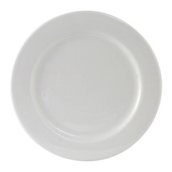 Tuxton - Alaska 10 1/4 inch Plate Wide Rim in Porcelain White - Case of 12 - Versatile and durable with a modern flair: that's Alaska. With a full selection of accessory pieces, individual style is possible within any establishment.