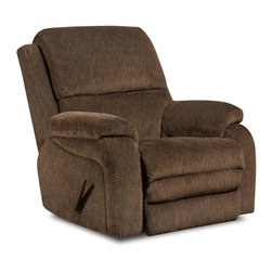 Chelsea Home - 41 in. Oakdale Rocker Recliner - Transitional style. Mechanically engineered mechanisms. Gazette basil cover. Seating comfort: Medium. Sturdy kiln-dried hardwood frame. Stress points are reinforced with blocks to secure long lasting frame. Sinuous springing system manufactured with reinforced 16-gauge border wire. Double springs are used on the ends nearest the arms to give balance in the seating. Hi-density foam cores with dacron polyester wrap cushions. Cushions made with zippers. Made from 89% polyester and 11% cotton. Made in USA. No assembly required. 41 in. L x 38 in. W x 43 in. H (100 lbs.)
