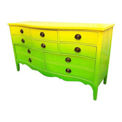 Pre-owned Refurbished Yellow & Green Ombre Vintage Dresser - A totally fun refurbished vintage dixie dresser in a high gloss lime green & chartreuse ombre paint job. So of this moment!  This piece will make a statement in a bedroom or in a bold, unconventional dining room. Featuring a fresh floral drawer liner, and a custom cut glass top to protect the sheen. The original hardware has been maintained.