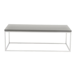 Eurostyle - Teresa Rectangular Coffee Table-Gry/Ss - Are clean, classic lines your style of choice? This elegant coffee table will fit right in. The smooth lines of the chromed steel base work beautifully with the lacquered top to create a design adored by minimalists like you.