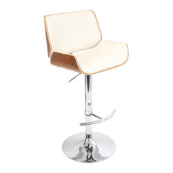 "Lumisource - Santi Bar Stool, Walnut + Cream Pu - 18.5""L x 20""W x 39-44.25""H"