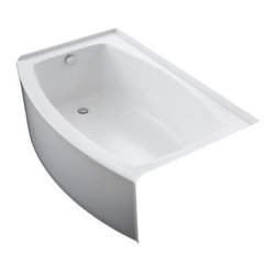 KOHLER - KOHLER K-1100-LA-0 Expanse Curved Integral Apron Bathtub with Left-Hand Drain - KOHLER K-1100-LA-0 Expanse Curved Integral Apron Bathtub with Left-Hand Drain in White