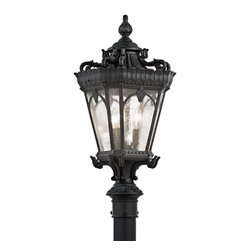 Kichler Lighting - Kichler Lighting 9558BKT Tournai Traditional Outdoor Post Lantern Light - With its heavy textures, dark tones and fine attention to detail, this 3 light outdoor mounted post from the Tournai collection stands out from other outdoor fixtures. Handmade from cast aluminum, its distinctive Textured Black finish give this piece a unique aged look.