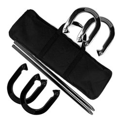Trademark Global - Superior Recreation Horseshoe Set with Carryi - Ideal for picnics in the park, family reunions or backyard barbecues, this horseshoe set will be a great addition to your family's recreational equipment collection. The set includes four horseshoes with metal poles and a carry bag with Velcro straps, making it easy to transport between games. Includes 4 horseshoes, 2 poles and a carrying bag. Easy to carry. 2.33 lbs. Horseshoe. 7.25 in. x 6.5 in. Horseshoe. 23.25 in. Pole. Carrying bag with velcro straps to hold everything together. Lots of fun for friends an family. 28 in. L x 1.25 in. W x 9.25 in. H (16 lbs.)Get out and enjoy the beautiful weather with this handy horseshoes set! Perfect for your next BBQ, picnic, party or reunion! Everyone will enjoy an exciting game of horseshoes in the park or in your backyard!