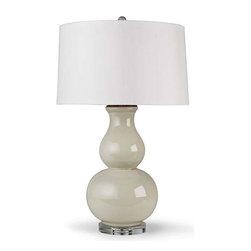 Regina Andrew - Regina Andrew Large Ceramic Gourd Lamp-Soft Grey and Green - Large ceramic gourd lamp-soft grey and green by Regina Andrew.