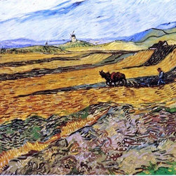 "Vincent Van Gogh A Field and Ploughman and Mill  Print - 16"" x 20"" Vincent Van Gogh A Field and Ploughman and Mill premium archival print reproduced to meet museum quality standards. Our museum quality archival prints are produced using high-precision print technology for a more accurate reproduction printed on high quality, heavyweight matte presentation paper with fade-resistant, archival inks. Our progressive business model allows us to offer works of art to you at the best wholesale pricing, significantly less than art gallery prices, affordable to all. This line of artwork is produced with extra white border space (if you choose to have it framed, for your framer to work with to frame properly or utilize a larger mat and/or frame).  We present a comprehensive collection of exceptional art reproductions byVincent Van Gogh."