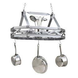 Hi-Lite MFG - Sonoma Pot Rack in Satin Steel Finish - Includes six pot rack hooks. Accessories not included. Made from steel. 31 in. L x 16 in. W x 16 in. HHi-Lite achieved success through attention to detail and stubbornness to only manufacturer the highest quality product. Hi-Lite has built its reputation as a premier lighting manufacturer by using only the finest raw materials, inspirational designs, and unparalleled service. This allows us great flexibility with our designs as well as offering you the unique ability to have your custom designs brought to Light.