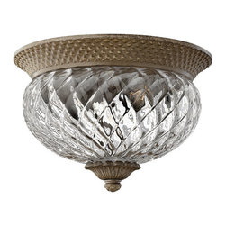 Plantation Outdoor Flushmount - Two Lights - Pearl Bronze with Clear Optic Glass - Add a touch of personality and charm to your home's exterior with this Plantation Outdoor Flushmount. It features a hand-blown glass shade and is available in your choice of finish.