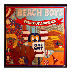 """Glittered Beach Boys Spirit of America Album - Glittered record album. Album is framed in a black 12x12"""" square frame with front and back cover and clips holding the record in place on the back. Album covers are original vintage covers."""