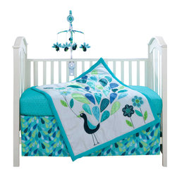 Bananafish - Peacock 3-Piece Baby Crib Bedding Set by Bananafish - You'll love the gender-neutral peacock crib bedding set for so many reasons. First, it's a perfect shower gift — especially if you don't know whether its a girl or boy — and second, you'll wish they made grown-up sets. Lovely turquoise birds and feathers grace the cotton three-piece set and will make any nursery radiate love.