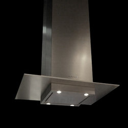"Designer Range Hoods - ""Loft CTM"" Series - The ""Loft CTM"" designer range hood from Futuro Futuro is equipped with a removable bottom portion that allows the installation of a custom shelf or panel - such as a matching stainless-steel panel that balances the vertical visual of the hood body with a subtle horizontal plane."