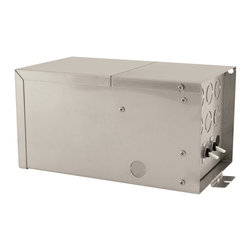 Edge Lighting - Remote 4x300W 12V Dual Feed Magnetic Transformer - Remote 1200 watt, 12 volt, dual feed magnetic transformer converts four 120 volt input to four low-voltage 12 volt output, 300 watt outputs for powering a Monorail 2-Circuit dual feed system. Needs to be installed in an accessable location, such as an attic or in a closet. To prevent voltage drop it is best to keep the transformer within 20 feet of the power feed canopy or junction box. Some buzzing may occur at low levels and may be reduced with a de-buzzing coil, sold separately. Is LED compatible with 12 volt AC LED's. ETL listed.