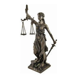 Bronzed La Justicia with Scales and Sword Statue 8 In. - Lady Justice and Blind Justice are the names associated with the feminine image of Themis, the goddess of Greek Mythology epitomizing the virtue of divine justice. Holding a sword in one hand to represent power, scales in the other displaying impartiality, and blindfolded to assure fairness in judgment, this statue, `La Justicia` hearkens back to these ancient ideals. The scales hang independently from metal chains and the detail is incredible. The statue measures 8 inches tall, 3 3/4 inches wide, 3 inches deep. Made of cold cast resin, it has a beautiful bronzed finish with hand painted accents to give it the look of metal. This piece is a great present for lawyers, judges, law students, or anyone in the field of law.