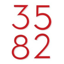 Neutra Number, Red - Give the exterior of your house some personality with these red house numbers. The red is a nice alternative to the typical finishes.