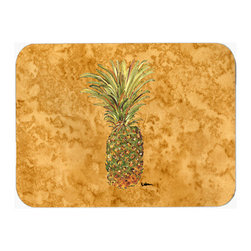 Caroline's Treasures - Pineapple Kitchen Or Bath Mat 24X36 - Pineapple Kitchen / Bath Mat 24x36 - 24 inches by 36 inches. Permanently dyed and fade resistant. Great for the Kitchen, Bath, outside the hot tub or just in the door from the swimming pool.    Use a garden hose or power washer to chase the dirt off of the mat.  Do not scrub with a brush.  Use the Vacuum on floor setting.  Made in the USA.  Clean stain with a cleaner that does not produce suds.