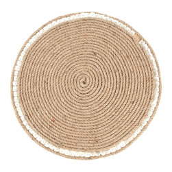 Saro - Jute Placemat with Mother-of-Pearl Accents, Natural SET/4 - Jute Placemat with Mother-of-Pearl Accents, Natural SET/4